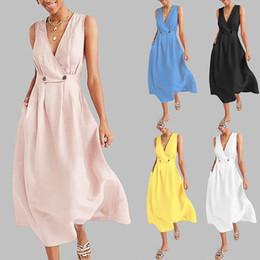 $enCountryForm.capitalKeyWord Australia - Women Dress V-Neck Pure Color Vest Sleeveless Button Easy Sandy Beach Dress Summer Ladies Party Maxi Vestidos Plus Size40#