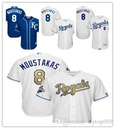 soccer series 2019 - Men's Royals 8 Moustakas Majestic White Home World Series Champions Gold Program Cool Base Player Kansas City Mike