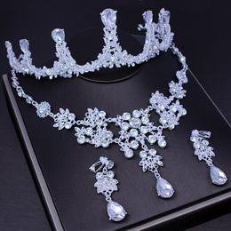 $enCountryForm.capitalKeyWord Australia - Fashion Jewelry Jewelry Sets Royal Girl Cake Topper Handcrafted Tiara Silver Rhinestone & Imitation Pearls Crown Accessories 3 Pcs Set
