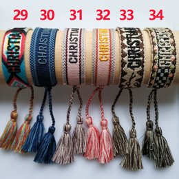 Wholesale Top Brand fabric bracelet Women D Cotton Jewelry Letter Signature Embroidery Bracelet Woven Bangle Tassel Lace-up Bracelet bagg