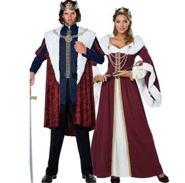 king costumes NZ - Christmas Queen King Costume Halloween Women and Mens Masquerade Ball Theme Costumes Classic Adult Costume Christmas Couples Costumes