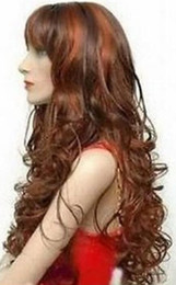 Mix Red Hair Australia - WIG Hot heat resistant Party hair>>>New long curly copper red & brown mix Hair wigs