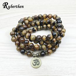 $enCountryForm.capitalKeyWord UK - Ruberthen Fashion Tiger Eye 108 Mala Bracelet Om Buddhist Bracelet Or Necklace High Quality Yogi 4 Wrap Natural Stone Bracelet MX190718