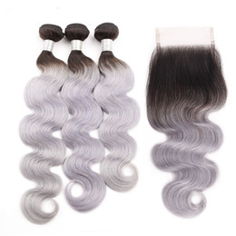 hair dyeing color Canada - Silanda Hair Ombre Color Dyed #T 1B Grey Body Wave Remy Human Hair Weaving Bundles With 4X4 Lace Closure Free Shipping