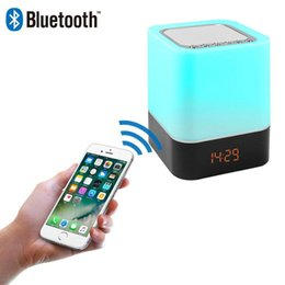 change player UK - Brand New Wireless Bluetooth Speaker with Touch-Control Bedside Lamp Table Alarm Clock Bluetooth with Changing Led Night Light