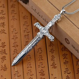 $enCountryForm.capitalKeyWord NZ - Fnj 925 Silver Cross Pendant 100% Pure S925 Solid Thai Silver Sword Pendants For Men Jewelry Making J190519