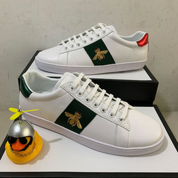 ingrosso cime inferiori-Top Quality New Bee Bianco Casual Scarpe Casual con Tiger Snake Stampa Uomo Donna Red Bottom Sneakers in pelle reale