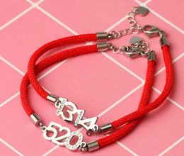 Wholesaler Red Plates Australia - Japan and South Korea couple models red rope bracelet 5201314 pure hand-woven plated 18k rose gold men and women bracelets to send girlfrien