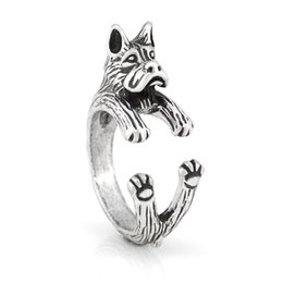 $enCountryForm.capitalKeyWord Australia - Vintage Silver Gothic Retro Style Funny Cropped Ear Boxer Dog Ring Anel Boho Animal Rings For Women Men Fashion Jewellery For Pet Lovers