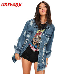 Long Ladies Denim Jacket Australia - Women's autumn denim jackets 2019 new loose denim coats ladies plus size female medium long hole Hole jacket Women's clothing