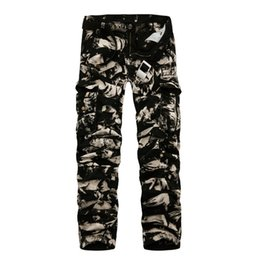 asian cotton pants Canada - 2018 Spring New Cotton Cargo Pants Men Multi-pocket Casual Slim Camouflage Trousers Men(asian Size 29-40) C19041303