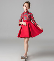 Easter Pageant Costumes Australia - Chinese Costume Red Knee Short Flower Girls' Dresses Girl's Pageant Dresses Princess Party Dresses Child Skirt Custom Made 2-14 H308013