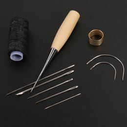 Shoes Repair Australia - 1 Set Sewing Needle Awl Leather Craft Sewing Accessories Stitching Awl Sewing Leathercraft Shoe Repair Tools Supplies