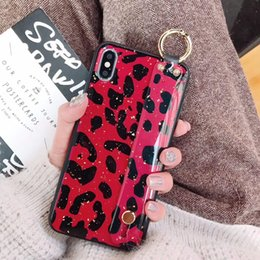 $enCountryForm.capitalKeyWord Australia - Mytoto Fashion Pink Leopard Gold Foil Wristband phone case for iphone 6 6s 7 8 XS Max XR XS X Tpu Brown Red Beige Cover