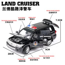 toyota toy car models NZ - Diecast 1:24 High Simulation Toyota Land Cruiser Polices Car Alloy Vehicle Car Model Toy For Children Gifts Wheels Can Be Turned