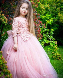 $enCountryForm.capitalKeyWord Australia - 2019 Girls Pageant Dresses With Short Sleeve Lace Applique Flower Girl Dress Big Bow Toddler Capcake Gown