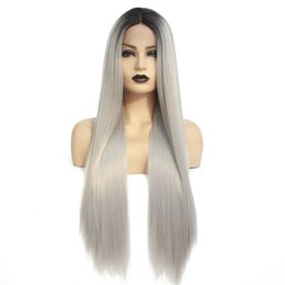 Long siLver cospLay wig online shopping - Two Tones Ombre Grey Synthetic Lace Front Wig Natural Long Straight Silver High Temperature Fiber Wigs for Black Women Cosplay