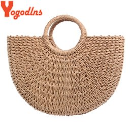 $enCountryForm.capitalKeyWord NZ - Yogodlns 2019 New Fashion Moon Straw Handbags Women Summer Beach Bag Rattan Bag Handmade Vintage Woven Handbag For Women Y19052701