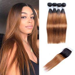 Dark root human hair online shopping - Kiss Hair T B Dark Root Medium Auburn sraight Ombre Human Hair Weave Bundles with Lace Closure Brazilian Hair Extensions