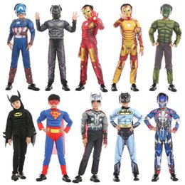 Discount iron clothing - halloween kids cosplay costumes 22 designs avengers Superheroes spiderman black panther Iron Man costume Kids Halloween