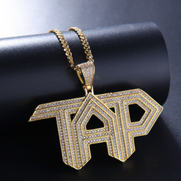 gold pedant Canada - New personalized Gold Iced Out CZ Cubic Zirconia Mens TAP Letters Pedant Necklace White Gold Full Diamond Hip Hop Jewelry Gifts for Men