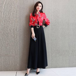 two piece office suit 2019 - 2019 New Spring Fashion Elegant Office Lady Pant Suit 2 Piece Set Women Bow Floral Shirt And High Waist Wide Leg Pants S