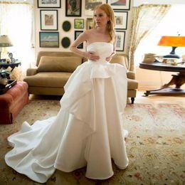 Strapless Satin Wedding Dresses Bridal Australia - 2019 White Strapless Satin Wedding Dresses 2019 A Line Plunging Bridal Gowns Ruffles Plus Size Court Train robes de mariée