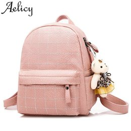 Doll Zippers Wholesale Australia - Aelicy Fashion Women's Backpack Phone Pocket High Quality Bear Doll Pendant Female Sweet Lady Packet Female Backpack Shouder
