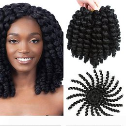 curl hair braiding UK - Pack of 5 Jamaican Bounce Crochet Hair Wand Curl Synthetic Hair Crochet Braids 8 Inch 20 Strands Pack Afro Kinky Braiding Hair