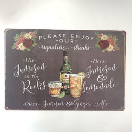 Signature Paintings Australia - Please Enjoy Our Signature Drinks Retro Metal Sign Decorative Cafe Bar Pub Home Garage Club Wall Plaque Painting Vintage
