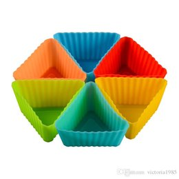 $enCountryForm.capitalKeyWord Australia - Wholesale small triangl Silicone Mold Cupcake Soap Silicone Cake Mold Muffin Baking Nonstick and Heat Resistant Reusable Silicone Cake Molds