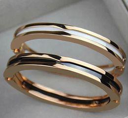 Discount fashion bracelet handcuffs - Brand Titanium Steel Bangles Luxury Gold White and Black Ceramic Bangle Fashion Rose Gold Silver Handcuff Couple Bracele
