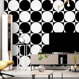 modern art simple home walls Australia - 3D visual minimalism wallpaper black and white circle photo wall mural modern art home wall decoration simple fashion sticker