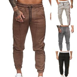 animal print pants for men Canada - Men Pants Casual Pockets Stripe Plaid Print Trousers Drawstring Long Pants Ankle-Tied Trousers Valentine's Day present For man1