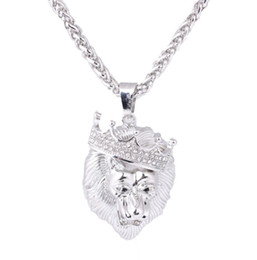 $enCountryForm.capitalKeyWord Australia - Hot Sell Diamond Studded Crown Necklaces Lion Head Hip Hop Necklace Men's Heroic Gold Plated Luminous Pendant Sweater Chain