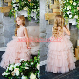 Cute blaCk baby models online shopping - Lovely V Neck Tiered Pink Flower Girls Dresses Girls Party Cute Toddler Pageant Baby Birthday Gowns Kids Formal Wear First Communion Dress