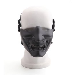 $enCountryForm.capitalKeyWord Australia - Half Face Mask Scary Smiling Ghost Shape Adjustable Tactical Protection Outdoor Camping Hunting Halloween Sportswear Accessories
