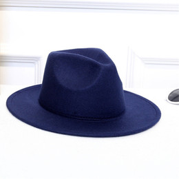 wide brimmed felt hat Australia - ISHOWTIENDA Wool Women's Hats Classical Gentleman Wide Brim Felt Wool Fedora Hats For Floppy Cloche Top jazz Cap