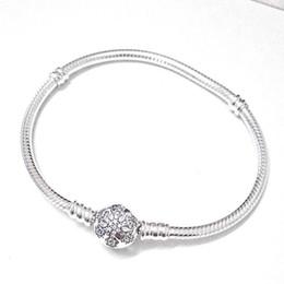 Sterling Silver Coral Bracelet Australia - 925 Sterling Silver Bracelet For Women Snowflake Clap Snake Chain Fit Lady Bead Charm Pendant C19021501