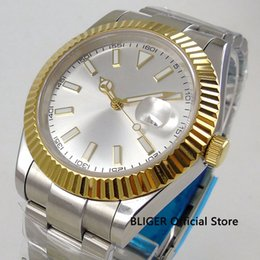 Glass Magnifier Gold NZ - 40mm No Logo Sapphire Glass Men's Watch White Dial Gold Bezel Date magnifier Automatic Movement Wristwatch