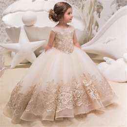 e9c177a95967 Discount girls kids wedding dress feather - New Flower Girl Dresses For Weddings  Lace Ball Gown