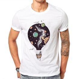 Short Balloon Tops Australia - 100% Cotton Hot Air Balloon Design Summer Short Sleeves Cartoons Universe Astronaut Men White Tees T-shirts Top Shirt