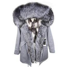 $enCountryForm.capitalKeyWord Australia - Hot sale Silver fox fur trim Threshold fashion black white plaid fox fur lining grey blue long parkas ykk zipper