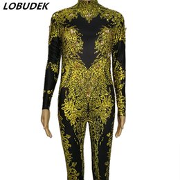 Discount sexy dance rompers - Gold Silver Printed Crystals Stretch Jumpsuit Sexy Nightclub Female Dance Costume Bar DJ Singer Stage Outfit Party Show