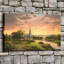 $enCountryForm.capitalKeyWord UK - Canvas Wall Art Pictures Framed 1 Piece Sunrise Church Painting Modern Living Room Printed Natural Landscape Poster Home Decor