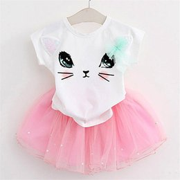 Kittens T Shirt Wholesale Australia - Girls 2019 Summer New Baby Girls Clothing Sets Fashion Style Cartoon Kitten Printed T-Shirts+Net Veil Dress 2Pcs Girls Clothes