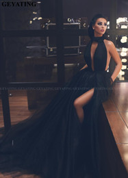 Wholesale masquerade red black dress for sale – halloween 2020 Sexy Keyhole Split Black Tulle Arabic Masquerade Evening Dress Ball Gown Long Dubai Prom Dresses