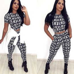 Discount f football - Women F Letter Print Tracksuit Short Sleeve Crop Top + Leggings Pants 2 Piece Set Summer Trousers Outfit T Shirt Sportsw