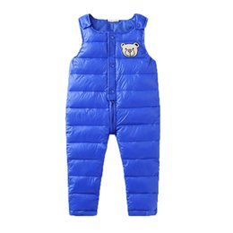 94616b282 2019 New Siamese Down Cotton-padded Garment Leisure Winter Boys Girls  Children Wear Snow Ski Trousers Feather Kids Pants