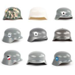 34cd84151f8 WW2 Military Army Soldiers Hat Cap Weapon Accessories Building Blocks Brick  German Figures M35 Helmet Blocks Model Toys
